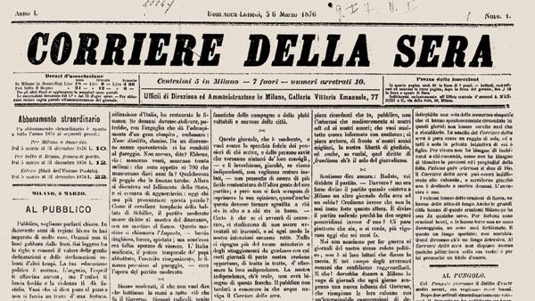 La prima, storica, pagina del Corriere della Sera (viv-it.org)