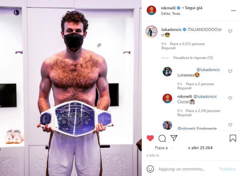 Melli festeggia su Instagram la cintura di difensore del giorno